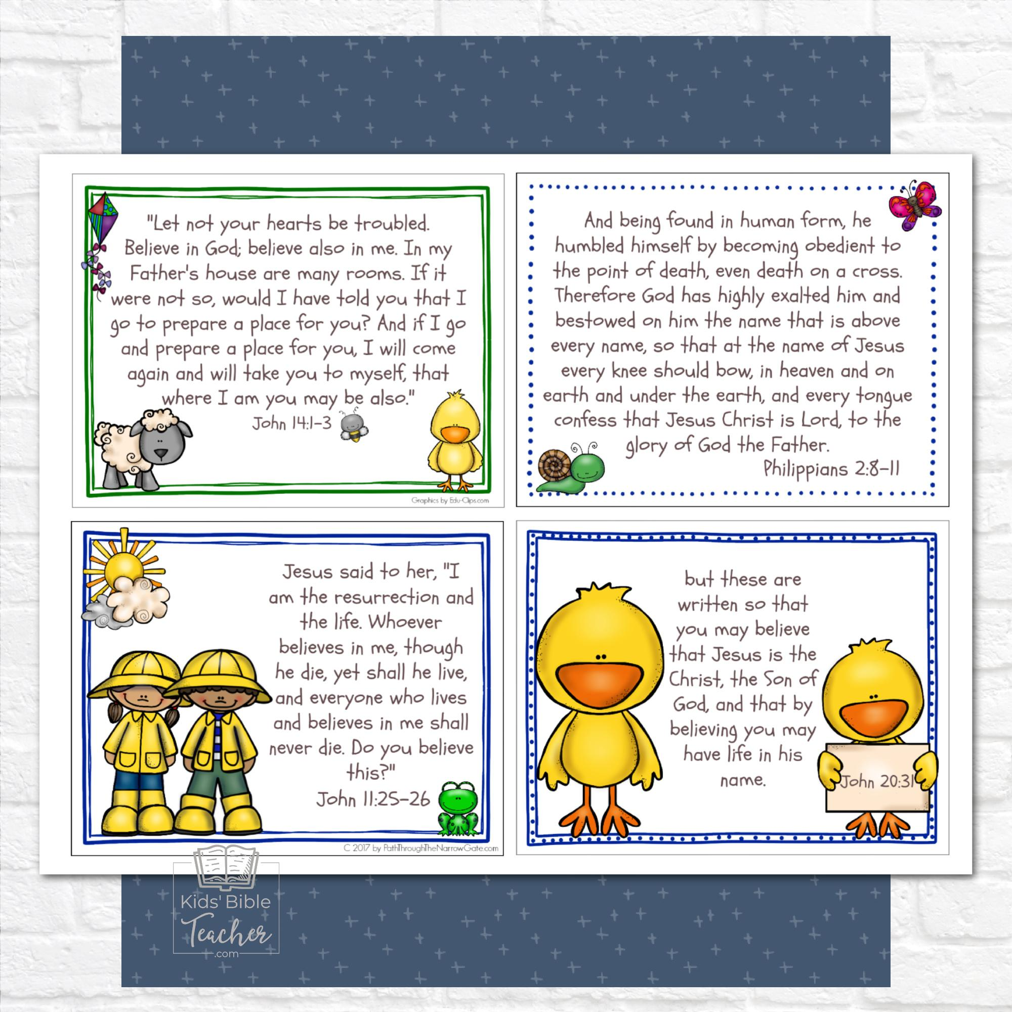 These adorable Easter Bible Verse Cards are a perfect way to remind your kids of the true meaning of Easter- both at home or in a classroom!
