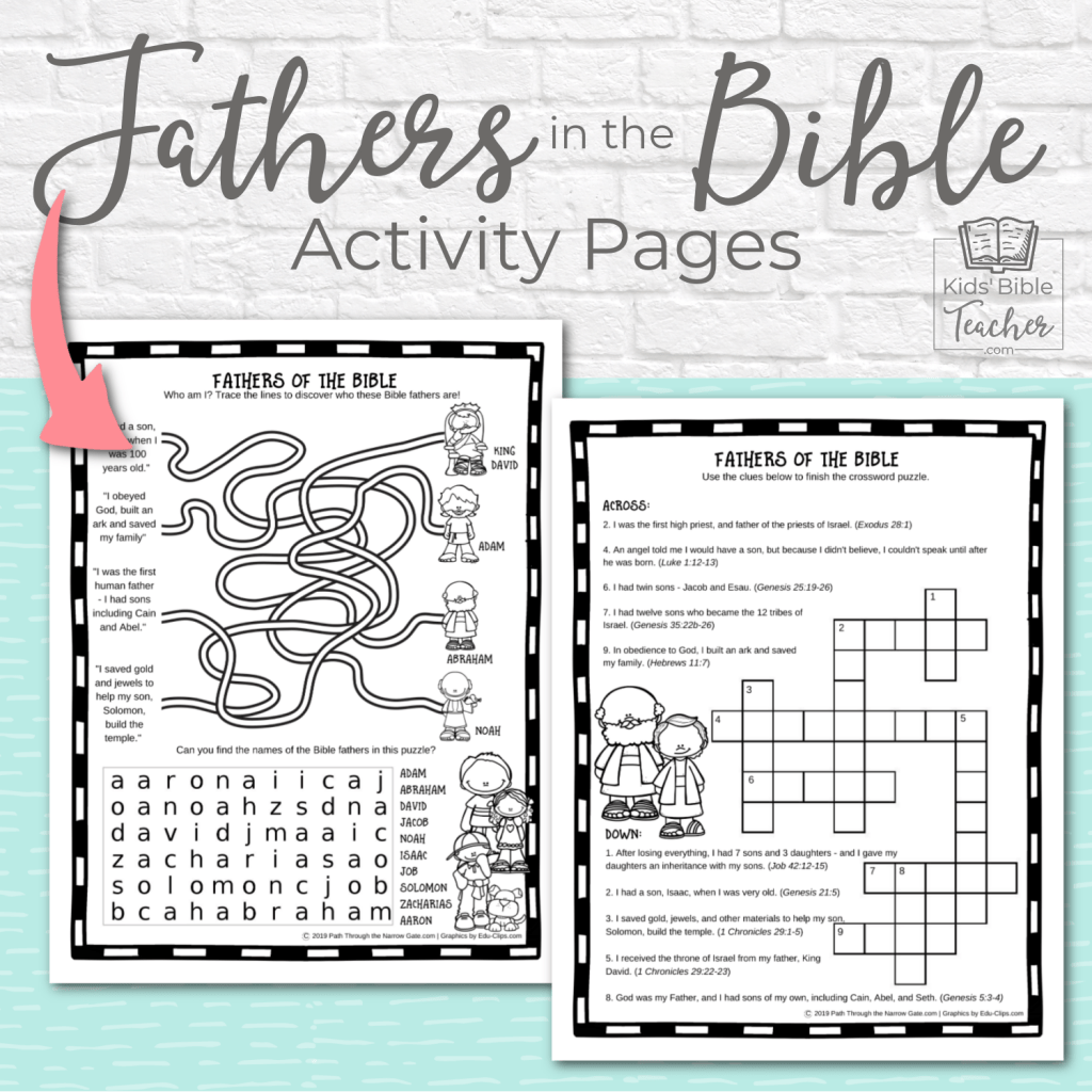 Help your kids celebrate the fathers in the Bible and their own fathers with these Fathers in the Bible Activity Pages. | Kids Bible Teacher