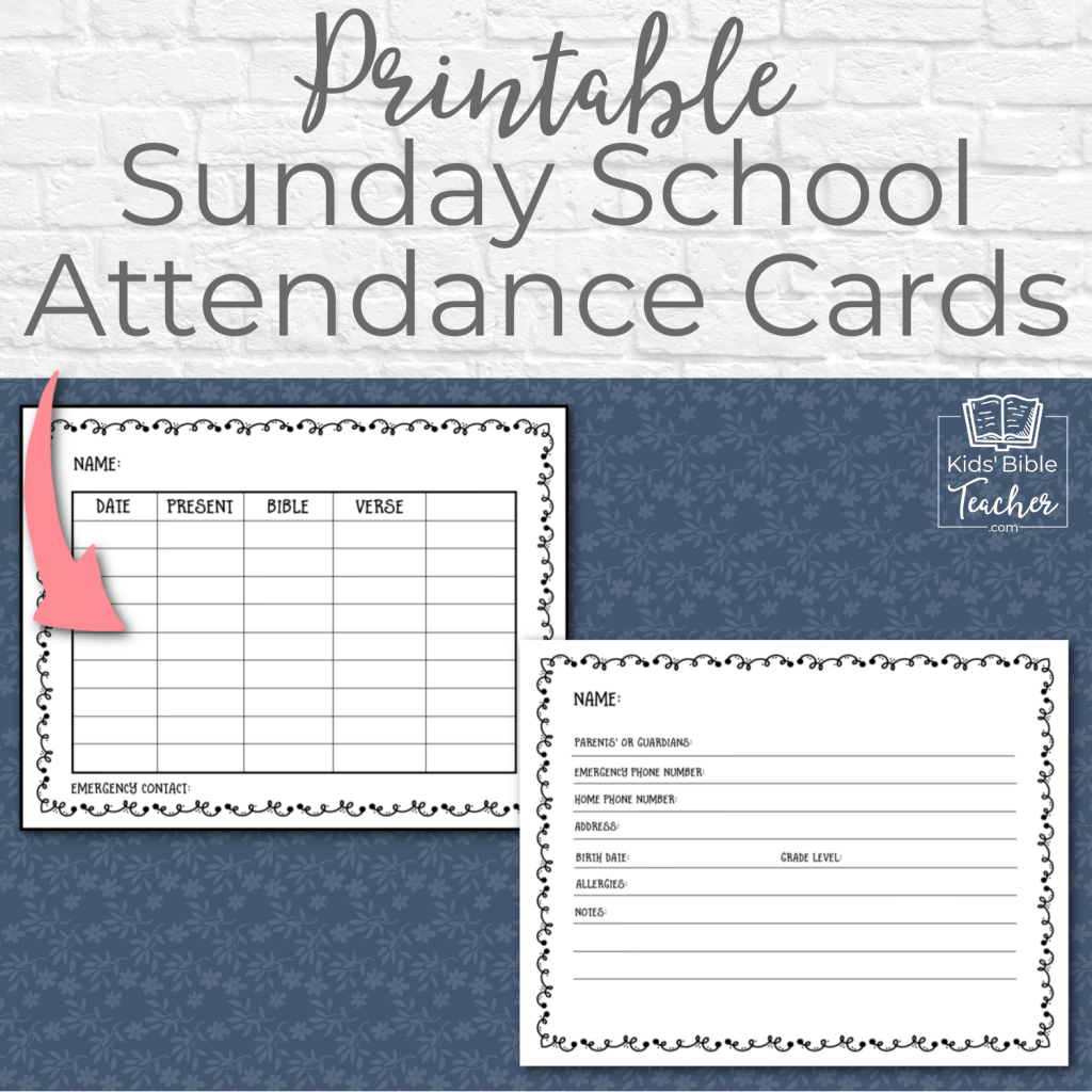 These printable Sunday School attendance cards are perfect for keeping track of attendance on the front and important student info on the back. I can't believe they're free. Best attendance cards I've seen.