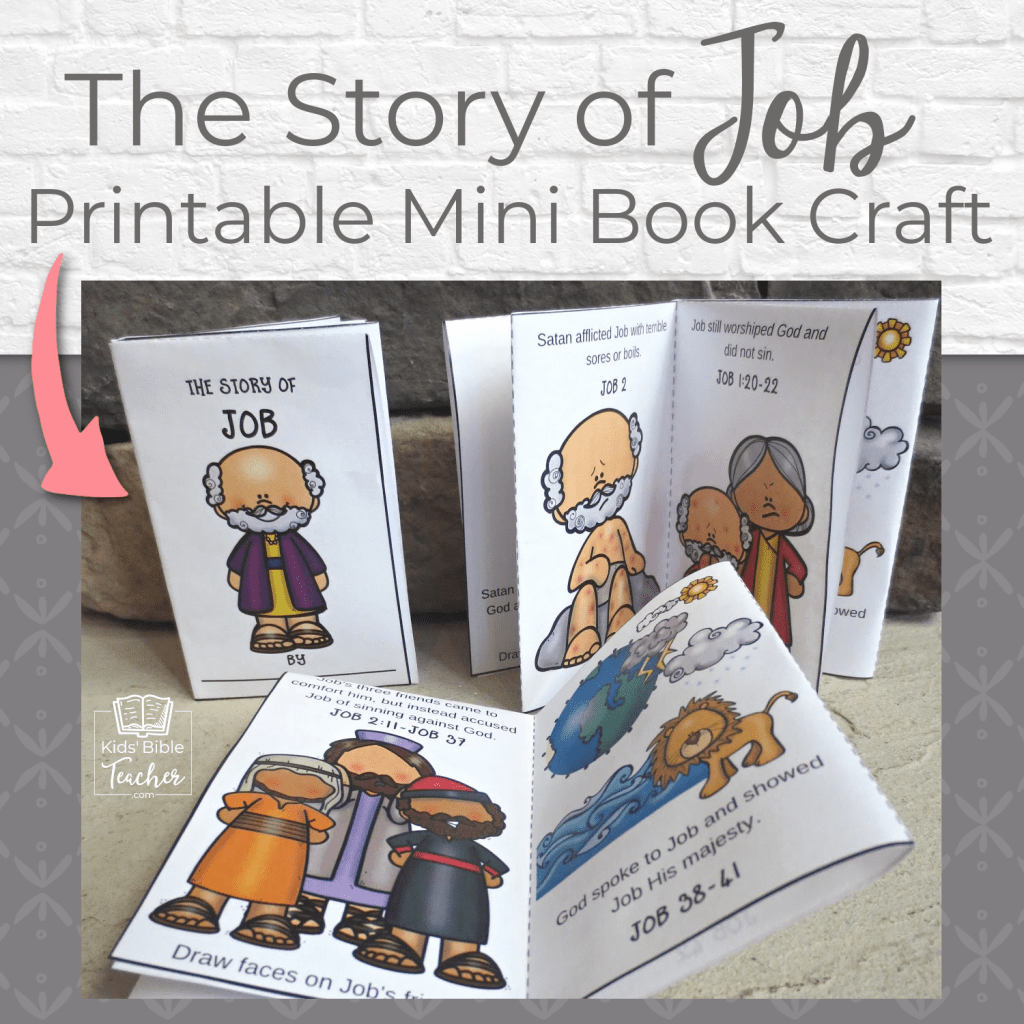 Help your kids learn the story of Job with this fun printable Job mini book - Easy to make from one piece of paper! Perfect for home or class. | Kids Bible Teacher