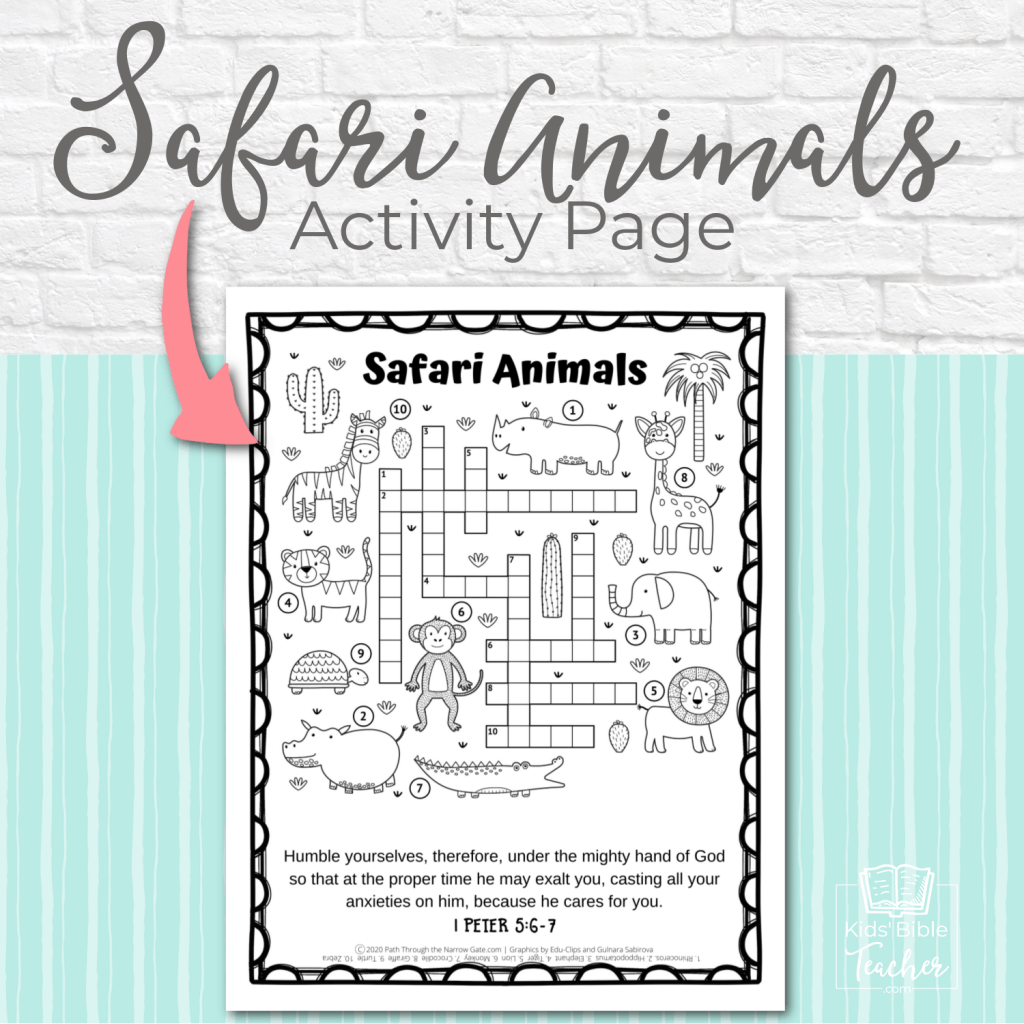 The free printable Safari Animals Activity Page is a great way to supplement any Sunday School or Bible class! Get your copy today.