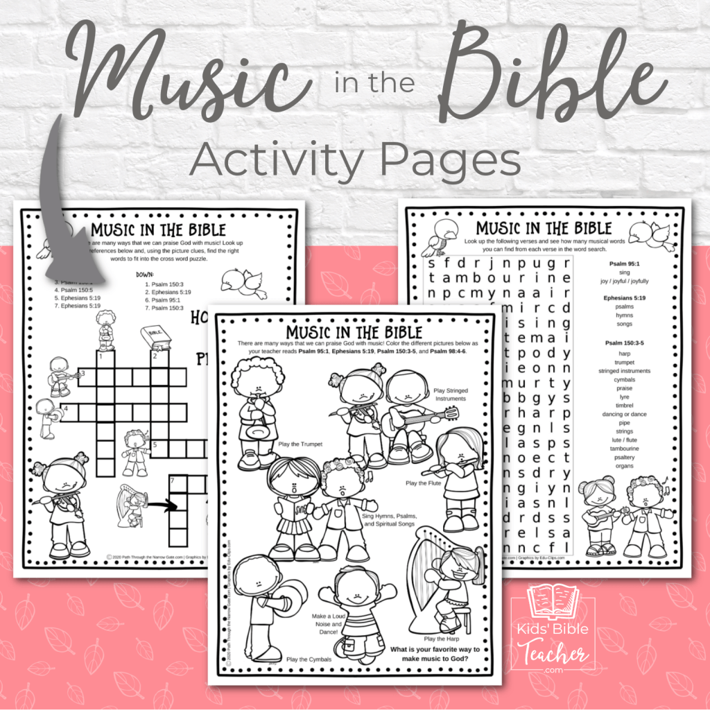 Help your kids discover that the Bible is full of music with these fun, free printable music in the Bible activity pages. | Kids Bible Teacher.com