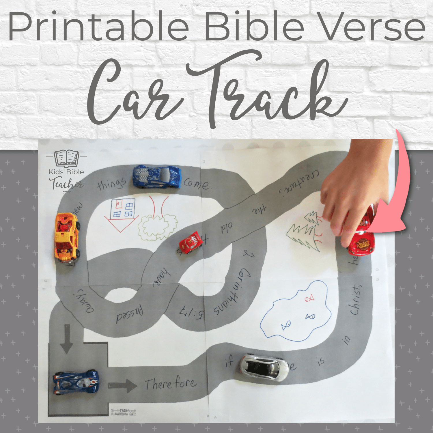 Looking for a super fun yet simple way to help kids memorize Bible verses? This adorable race track is perfect - great for home or Sunday School use.