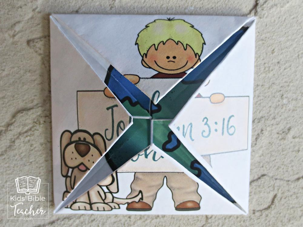 This John  3:16 folded puzzle is a fun little origami craft that unfolds  to reveal the message of John 3:16. | Kids Bible Teacher.com