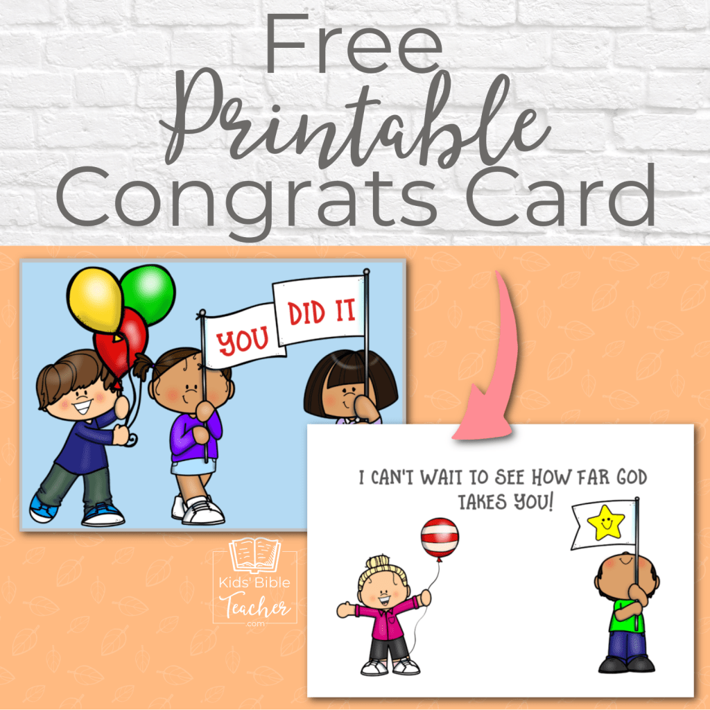 Celebrate your students' achievements with this free printable congratulations card - perfect for Sunday School, Bible club, or home!